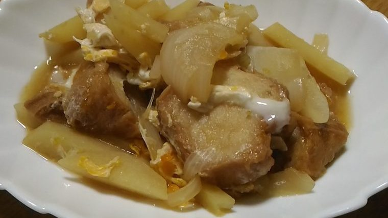 じゃがいもと玉ねぎの仙台麩煮